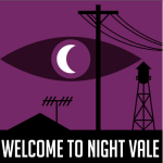 The night Vale logo - a crescent moon that makes up the iris of an eye against a purple background with the silhouettes of a water tower, telephone pole, mountain, and antenna in the foreground.